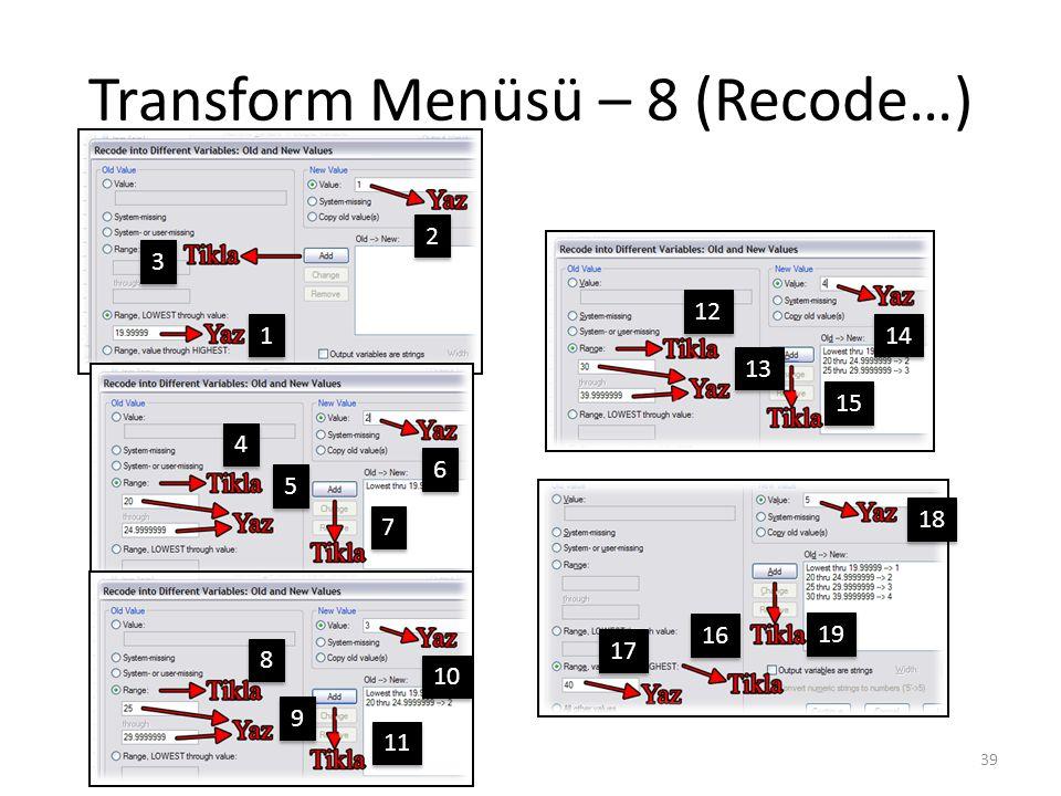 Transform Menüsü – 9 (Recode…)