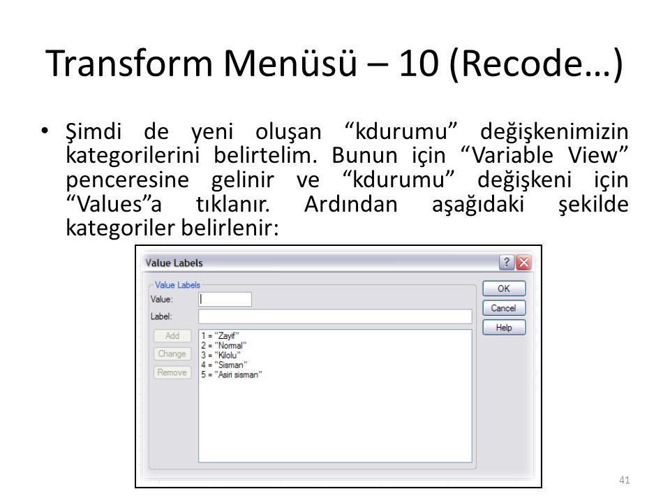 Transform Menüsü – 11 (Recode…)