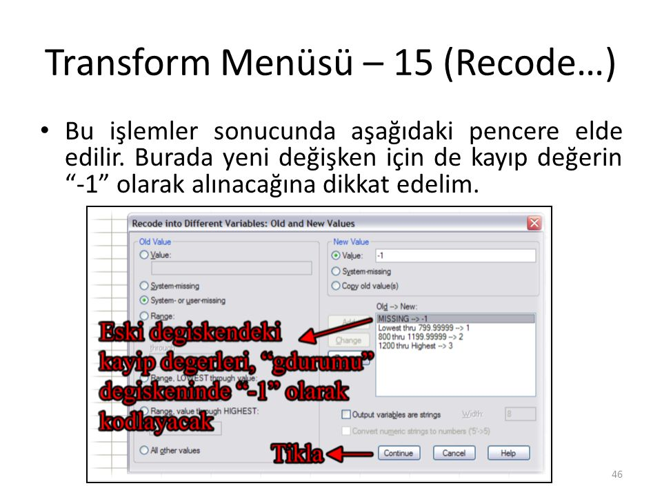 Transform Menüsü – 16 (Recode…)