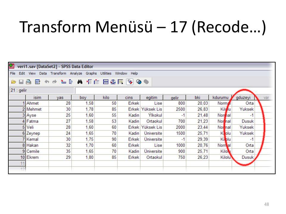 Transform Menüsü – 18 (Replace…)