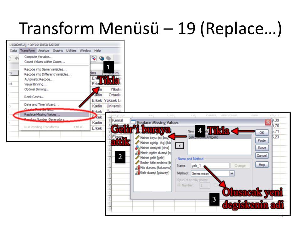 Transform Menüsü – 20 (Replace…)