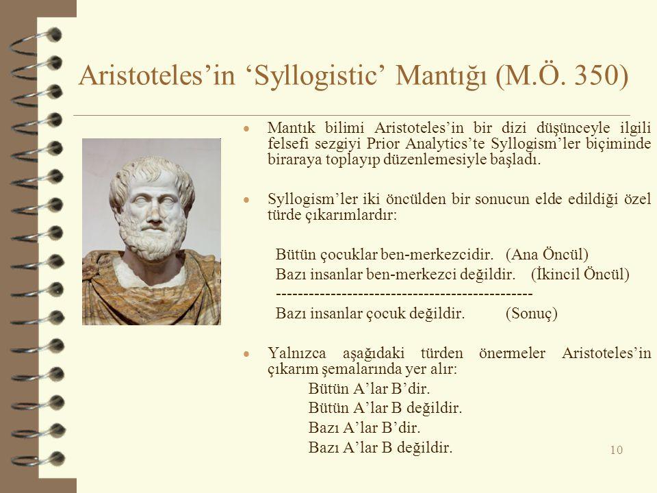 Aristoteles'in 'Syllogistic' Mantığı (M.Ö. 350)