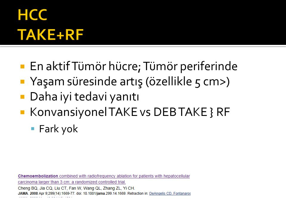 HCC TAKE+RF En aktif Tümör hücre; Tümör periferinde