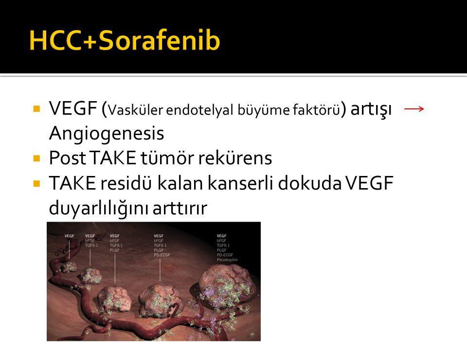 HCC+Sorafenib VEGF (Vasküler endotelyal büyüme faktörü) artışı Angiogenesis. Post TAKE tümör rekürens.