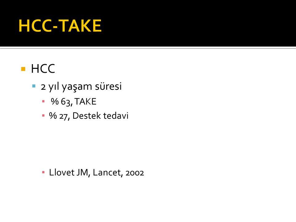 HCC-TAKE HCC 2 yıl yaşam süresi % 63, TAKE % 27, Destek tedavi
