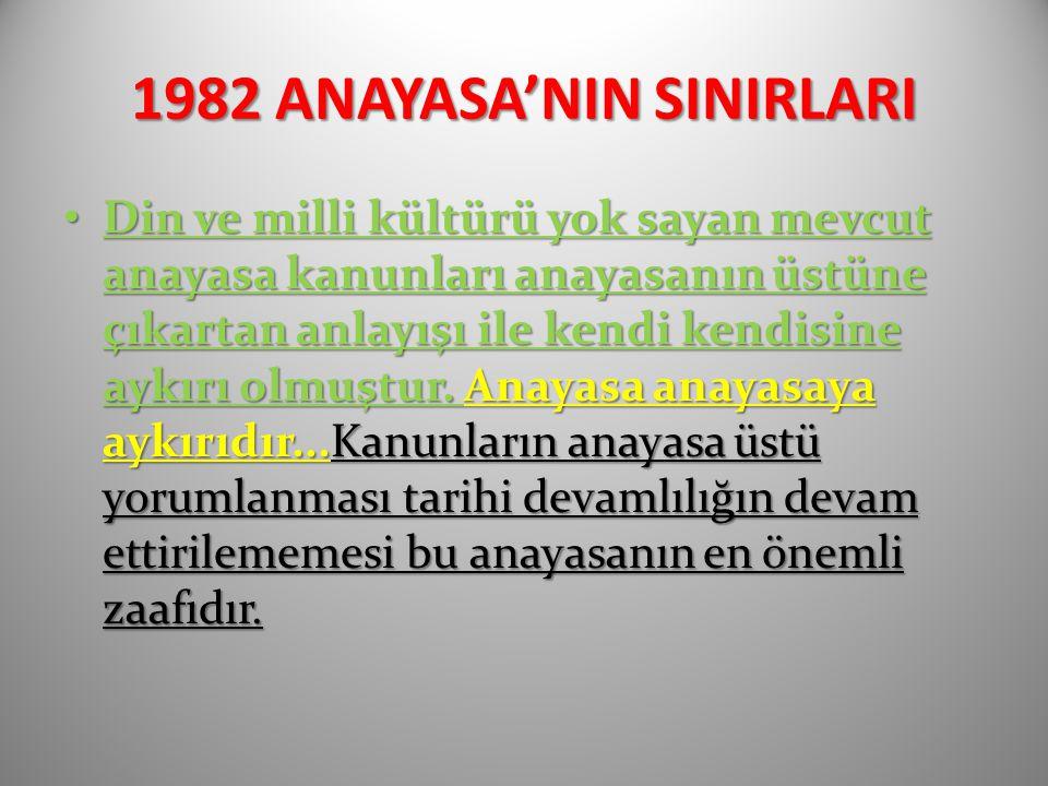 1982 ANAYASA'NIN SINIRLARI