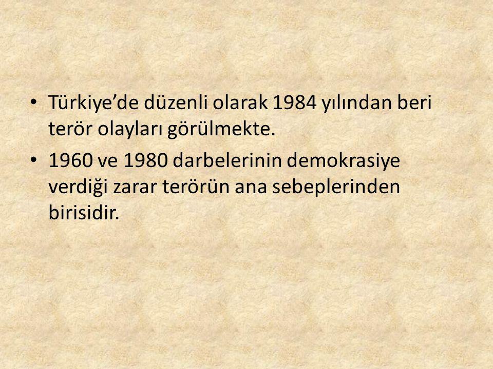 Türkiye'de düzenli olarak 1984 yılından beri terör olayları görülmekte.