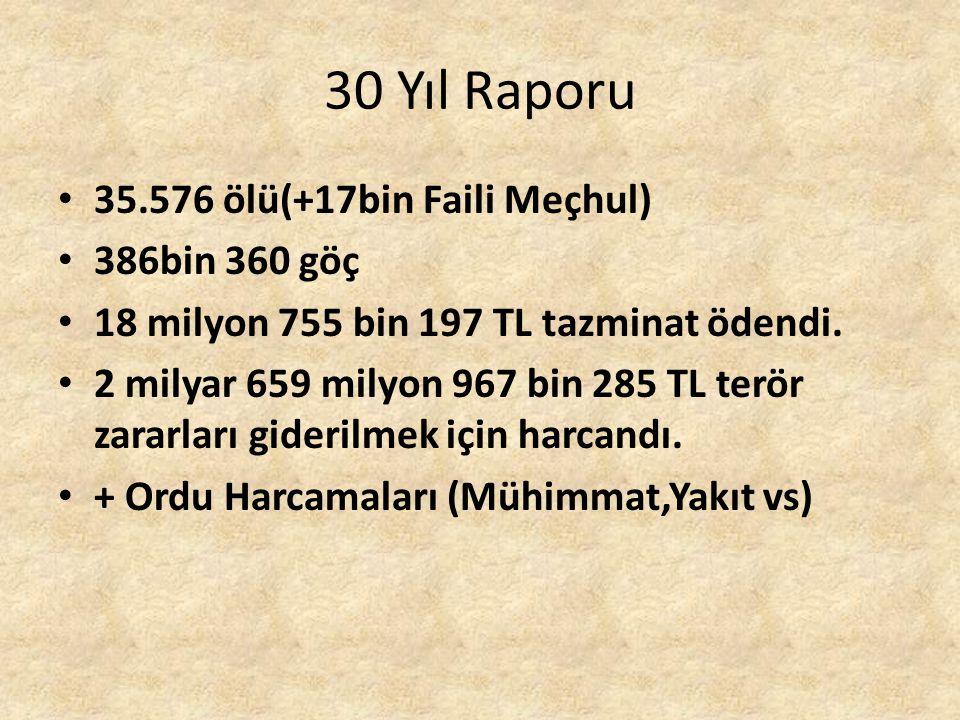 30 Yıl Raporu 35.576 ölü(+17bin Faili Meçhul) 386bin 360 göç