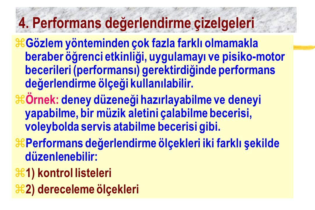 4. Performans değerlendirme çizelgeleri