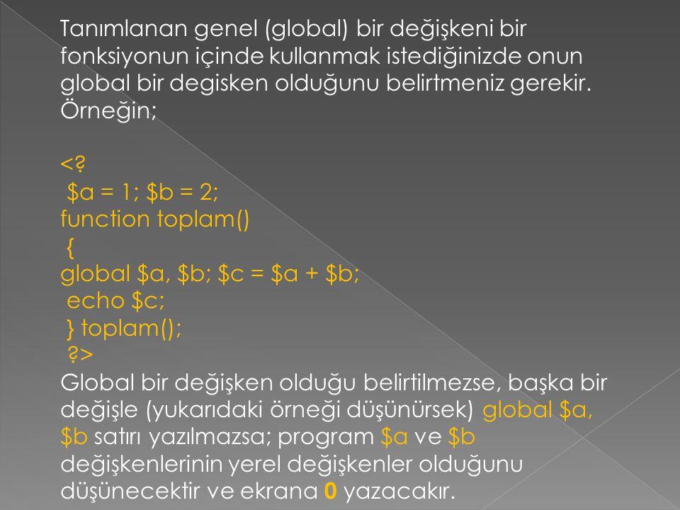 Tanımlanan genel (global) bir değişkeni bir fonksiyonun içinde kullanmak istediğinizde onun global bir degisken olduğunu belirtmeniz gerekir. Örneğin; <