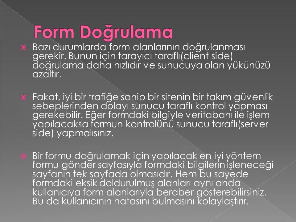Form Doğrulama