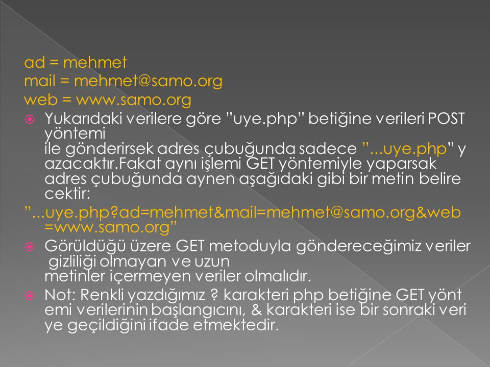 ad = mehmet mail = mehmet@samo.org. web = www.samo.org.