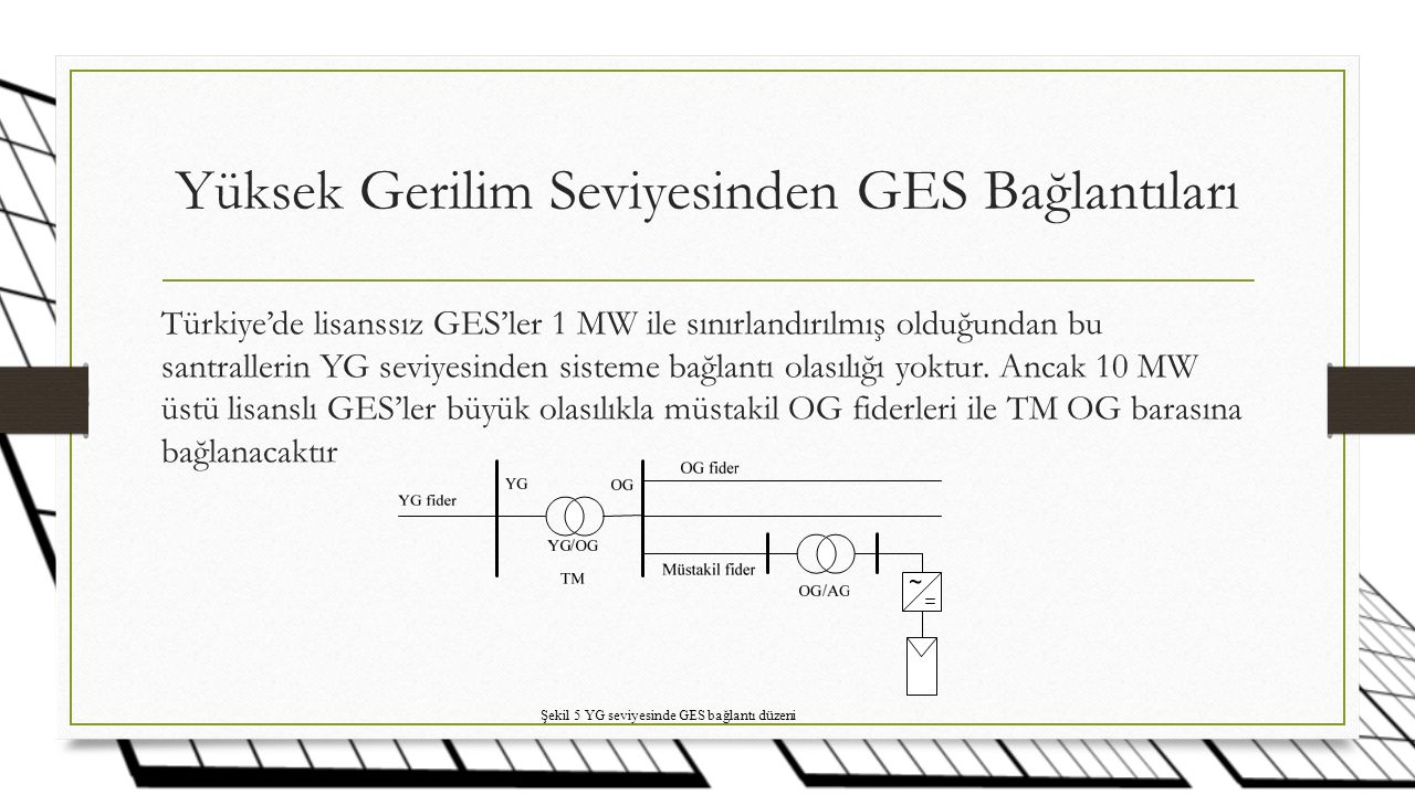 Yüksek Gerilim Seviyesinden GES Bağlantıları
