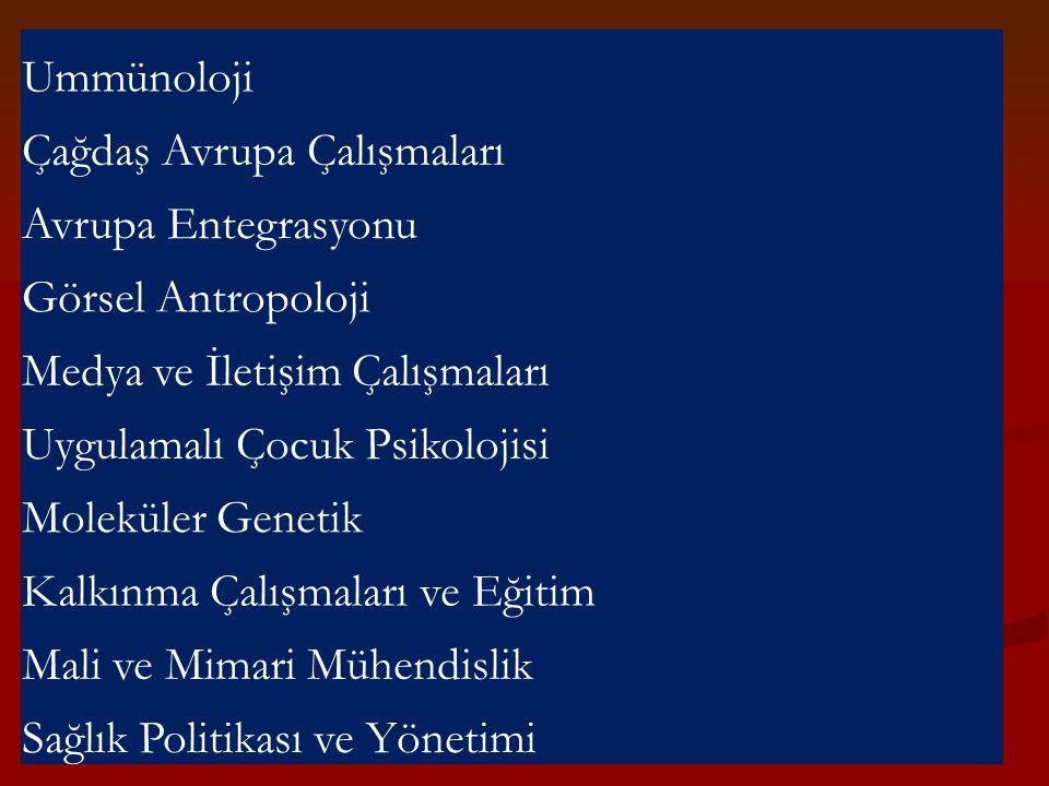 Ummünoloji Çağdaş Avrupa Çalışmaları. Avrupa Entegrasyonu. Görsel Antropoloji. Medya ve İletişim Çalışmaları.