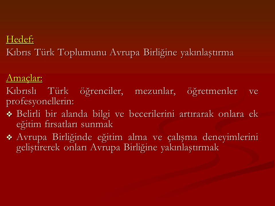 Hedef: Kıbrıs Türk Toplumunu Avrupa Birliğine yakınlaştırma. Amaçlar: Kıbrıslı Türk öğrenciler, mezunlar, öğretmenler ve profesyonellerin: