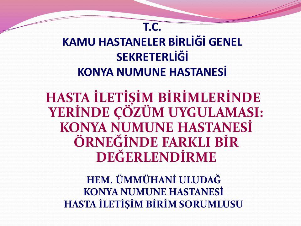 T.C. KAMU HASTANELER BİRLİĞİ GENEL SEKRETERLİĞİ KONYA NUMUNE HASTANESİ