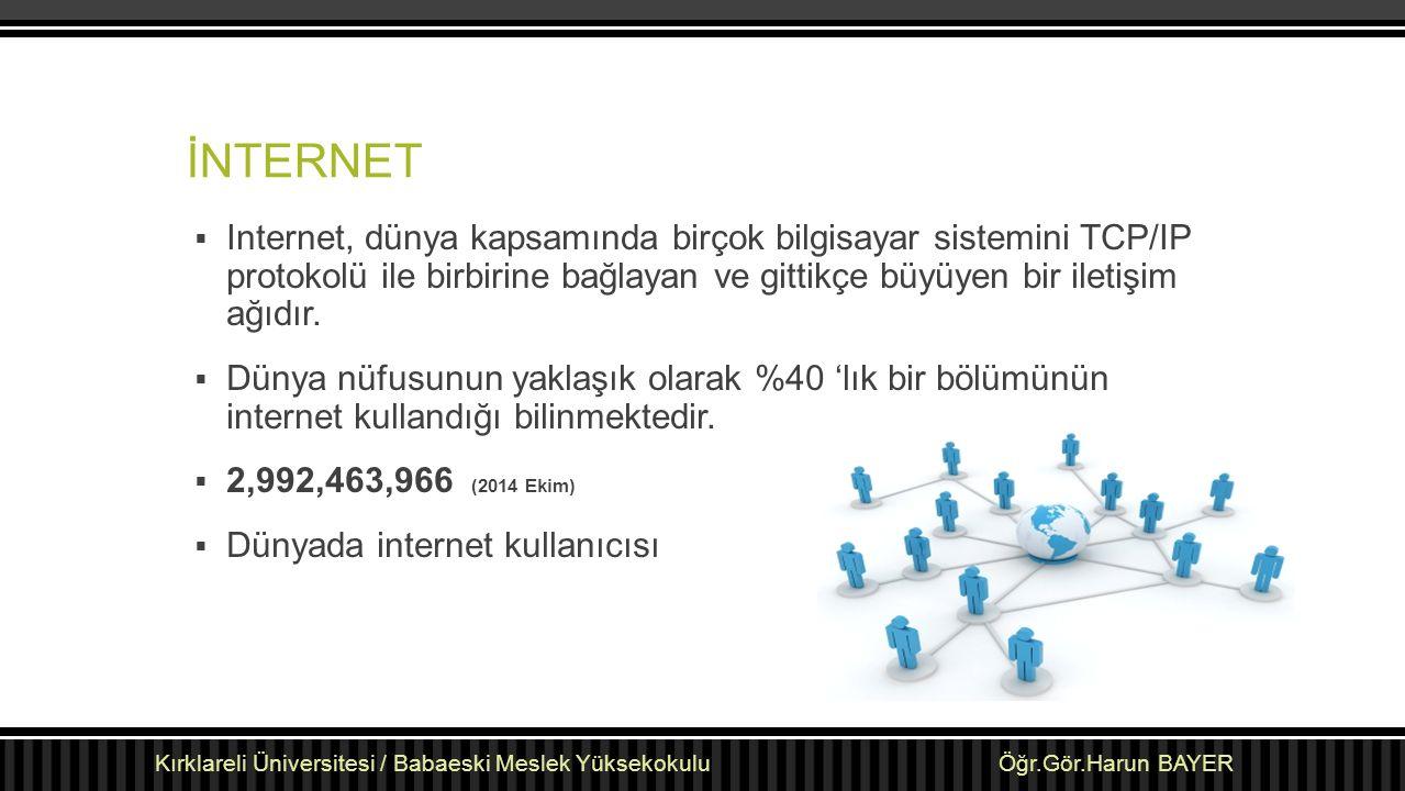 İNTERNET Internet, dünya kapsamında birçok bilgisayar sistemini TCP/IP protokolü ile birbirine bağlayan ve gittikçe büyüyen bir iletişim ağıdır.