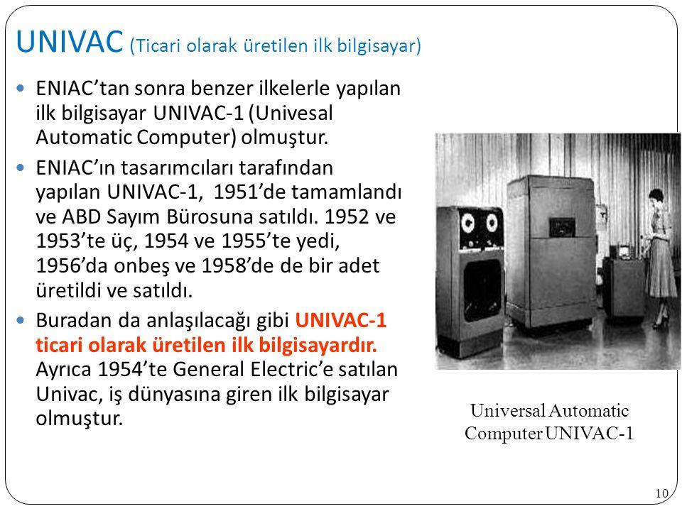 UNIVAC (Ticari olarak üretilen ilk bilgisayar)