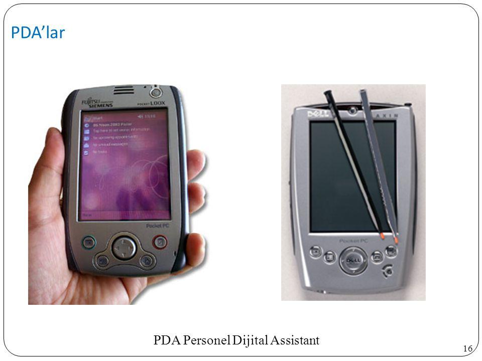 PDA'lar PDA Personel Dijital Assistant