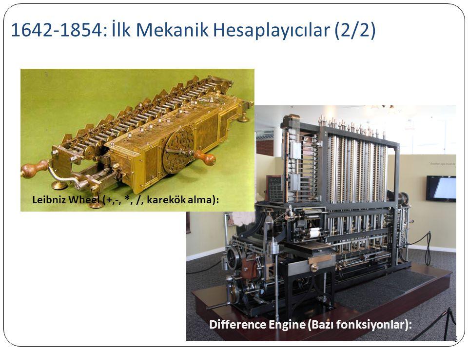 1642-1854: İlk Mekanik Hesaplayıcılar (2/2)
