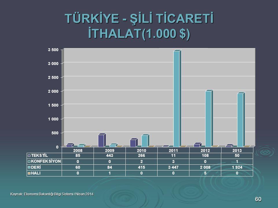 TÜRKİYE - ŞİLİ TİCARETİ İTHALAT(1.000 $)