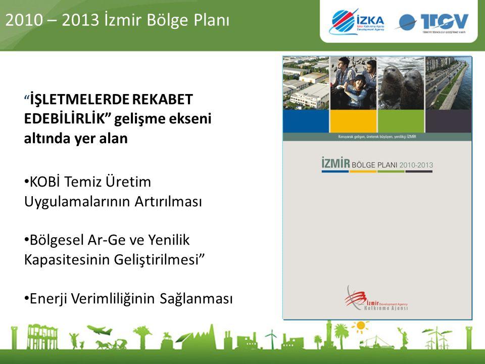 2010 – 2013 İzmir Bölge Planı İŞLETMELERDE REKABET EDEBİLİRLİK gelişme ekseni altında yer alan. KOBİ Temiz Üretim Uygulamalarının Artırılması.