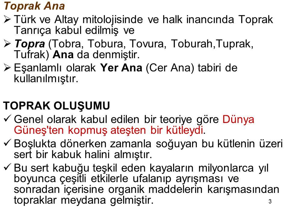 Toprak Ana Türk ve Altay mitolojisinde ve halk inancında Toprak Tanrıça kabul edilmiş ve.