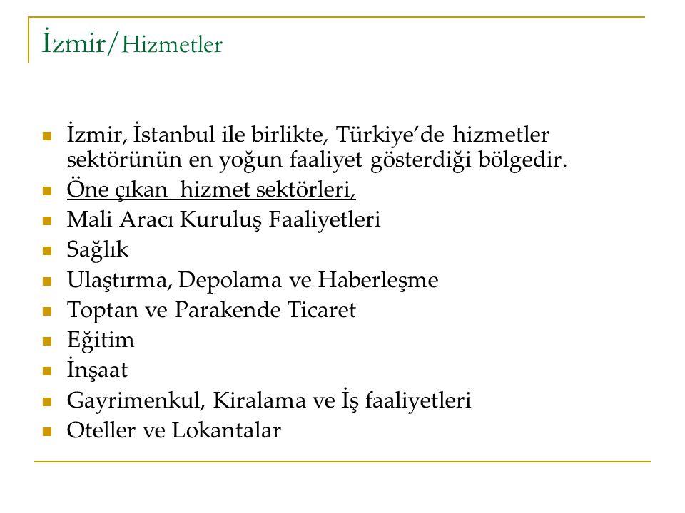 İzmir/Hizmetler İzmir, İstanbul ile birlikte, Türkiye'de hizmetler sektörünün en yoğun faaliyet gösterdiği bölgedir.