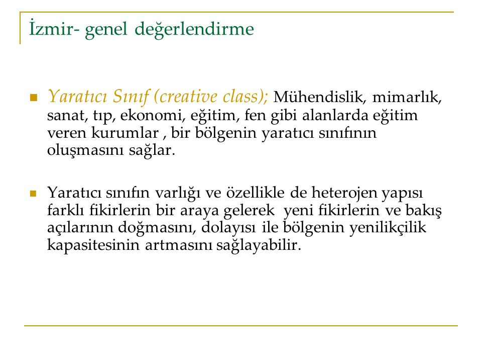 İzmir- genel değerlendirme