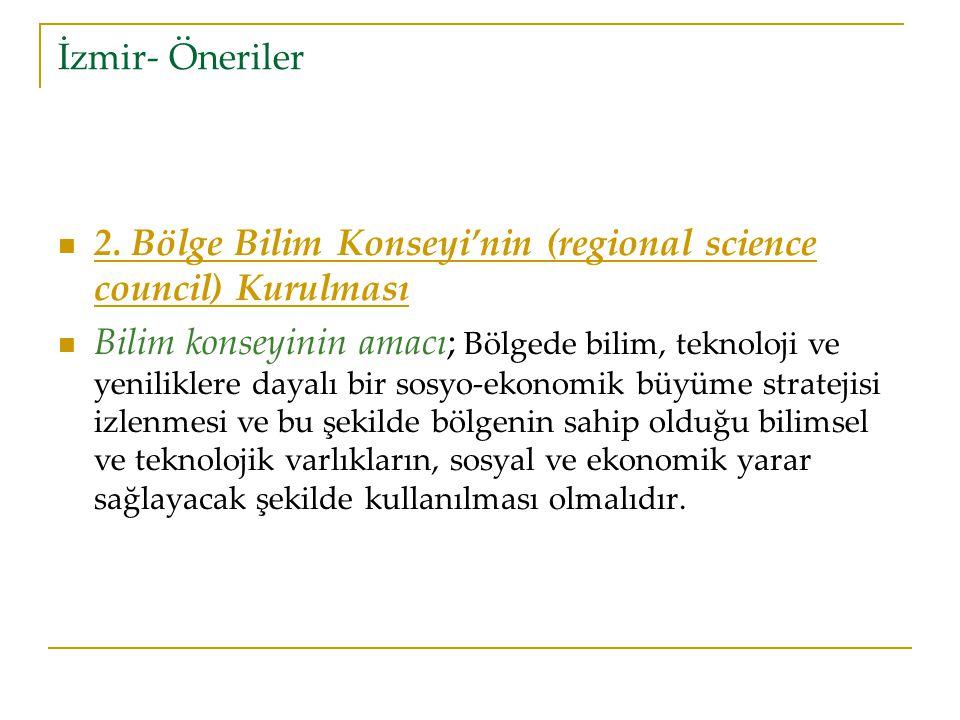 İzmir- Öneriler 2. Bölge Bilim Konseyi'nin (regional science council) Kurulması.