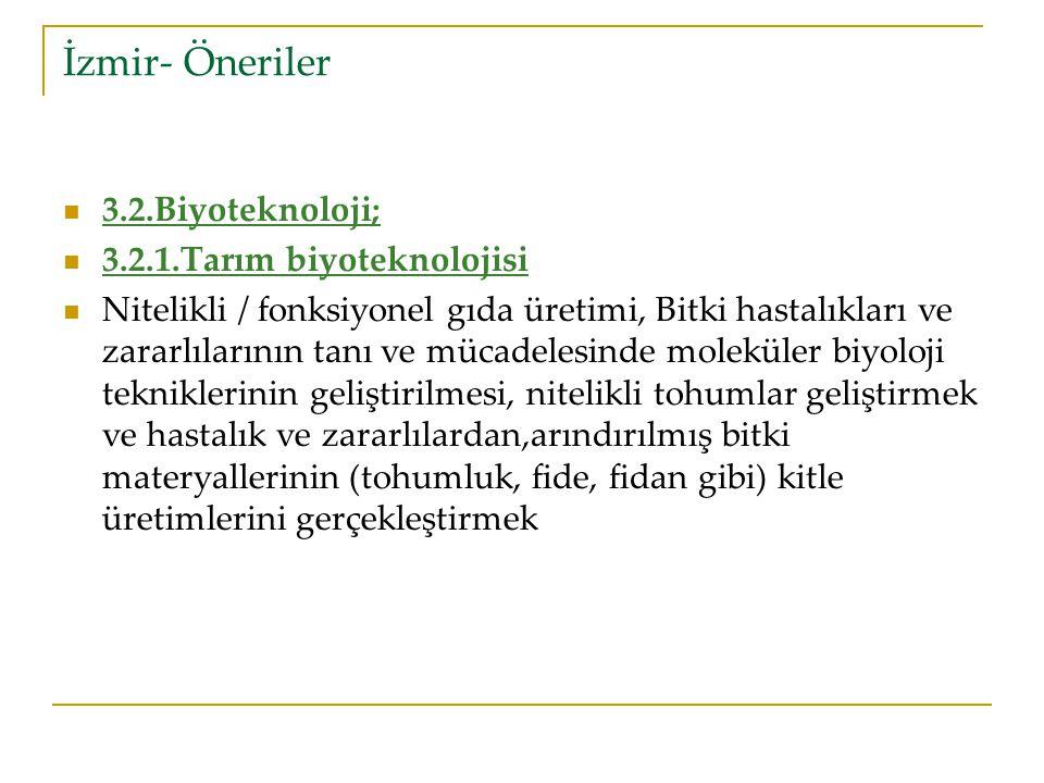 İzmir- Öneriler 3.2.Biyoteknoloji; 3.2.1.Tarım biyoteknolojisi