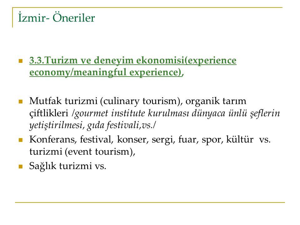 İzmir- Öneriler 3.3.Turizm ve deneyim ekonomisi(experience economy/meaningful experience),