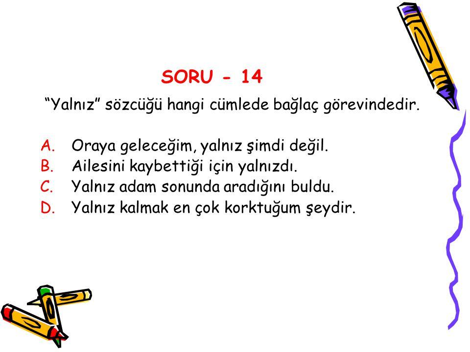 SORU - 14 Yalnız sözcüğü hangi cümlede bağlaç görevindedir.