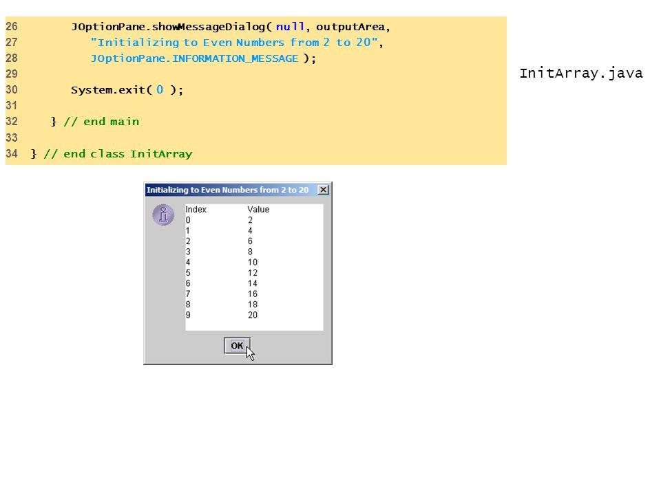 InitArray.java 26 JOptionPane.showMessageDialog( null, outputArea,
