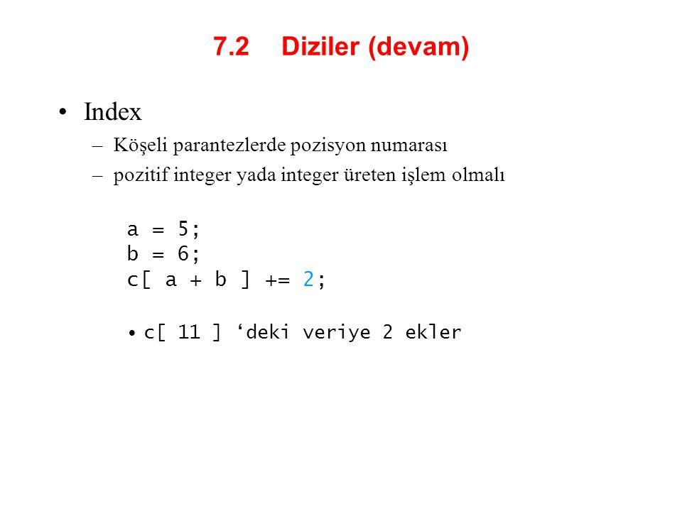 7.2 Diziler (devam) Index Köşeli parantezlerde pozisyon numarası