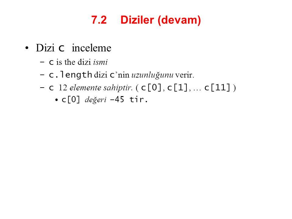 7.2 Diziler (devam) Dizi c inceleme c is the dizi ismi