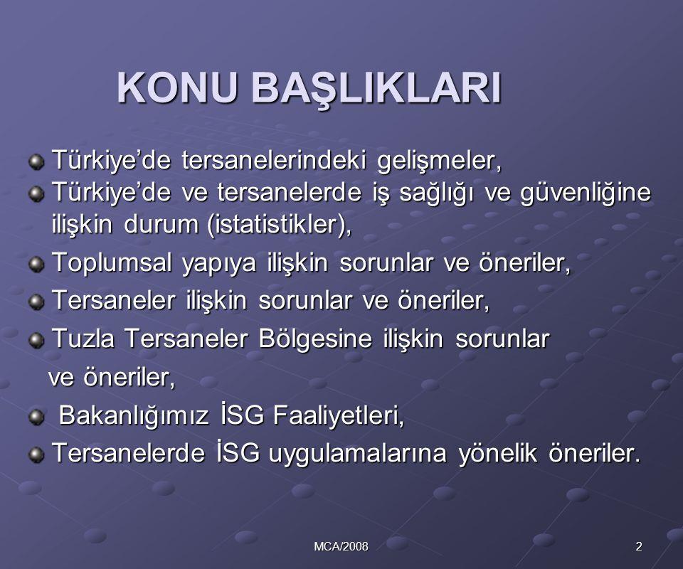 KONU BAŞLIKLARI Türkiye'de tersanelerindeki gelişmeler,