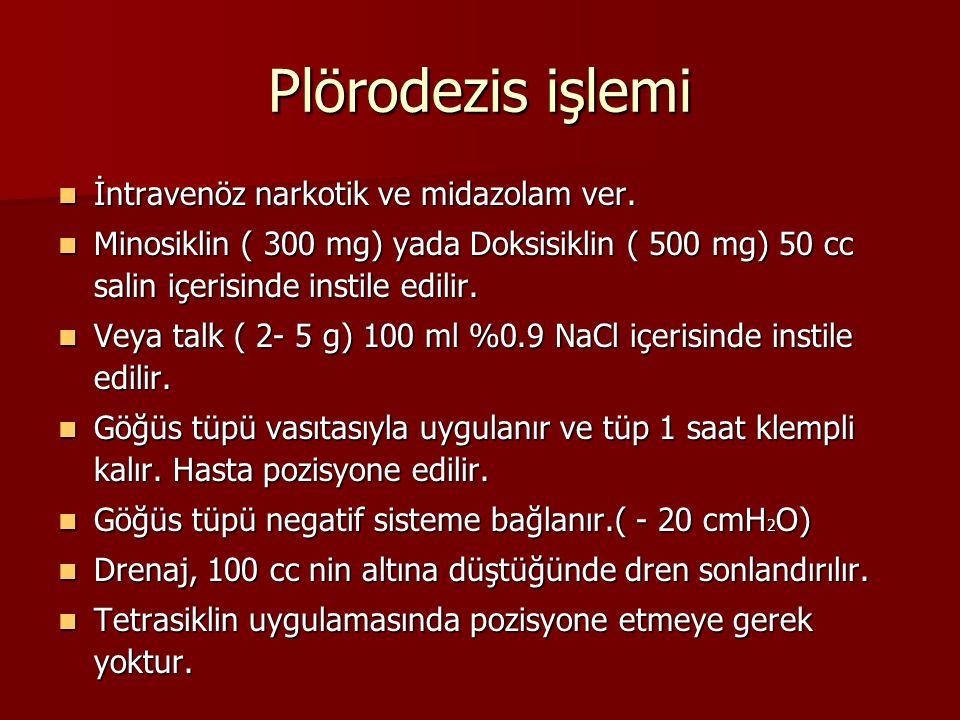 Plörodezis işlemi İntravenöz narkotik ve midazolam ver.
