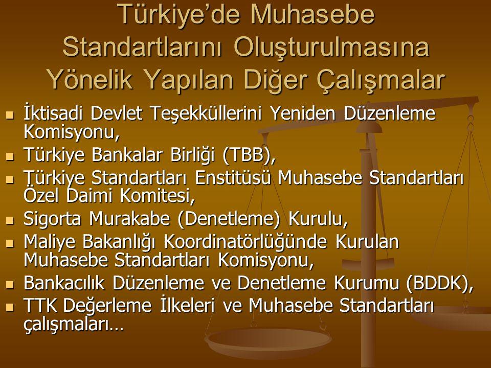 Türkiye'de Muhasebe Standartlarını Oluşturulmasına Yönelik Yapılan Diğer Çalışmalar