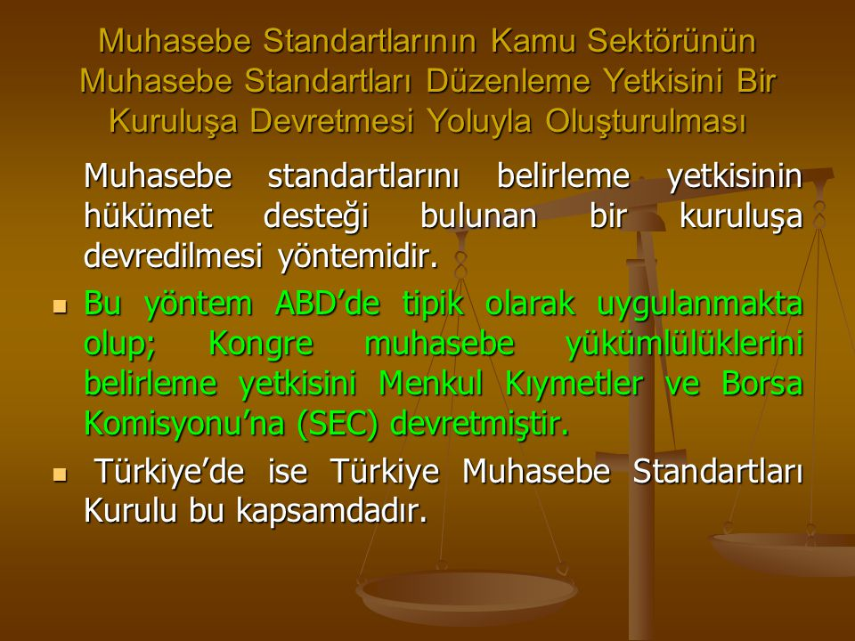 Muhasebe Standartlarının Kamu Sektörünün Muhasebe Standartları Düzenleme Yetkisini Bir Kuruluşa Devretmesi Yoluyla Oluşturulması