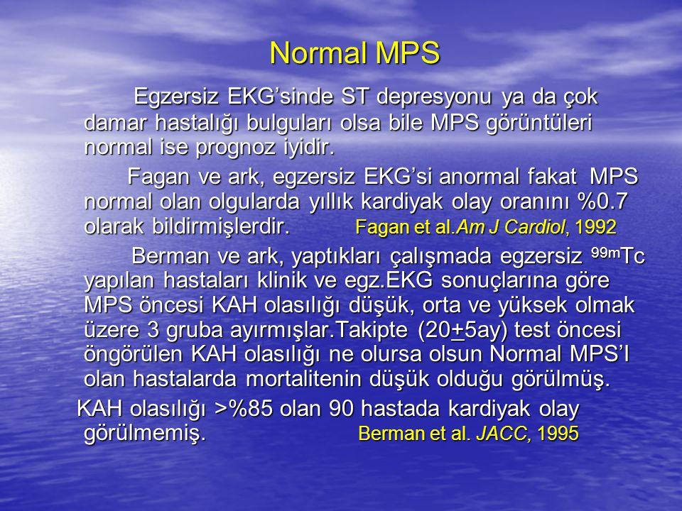 Normal MPS Egzersiz EKG'sinde ST depresyonu ya da çok damar hastalığı bulguları olsa bile MPS görüntüleri normal ise prognoz iyidir.