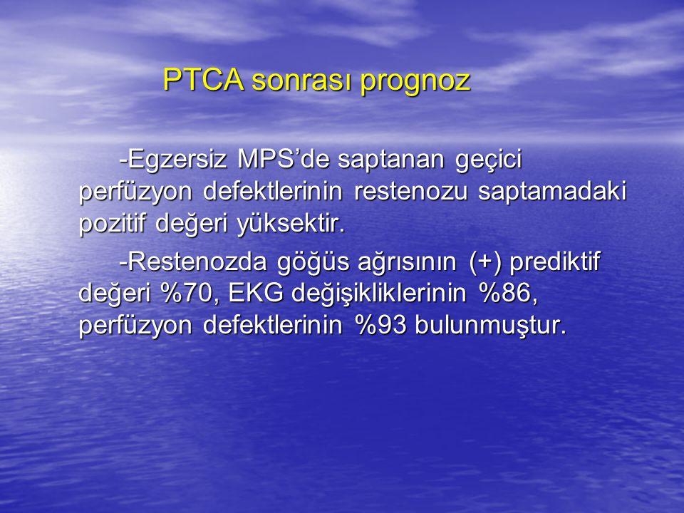 PTCA sonrası prognoz -Egzersiz MPS'de saptanan geçici perfüzyon defektlerinin restenozu saptamadaki pozitif değeri yüksektir.