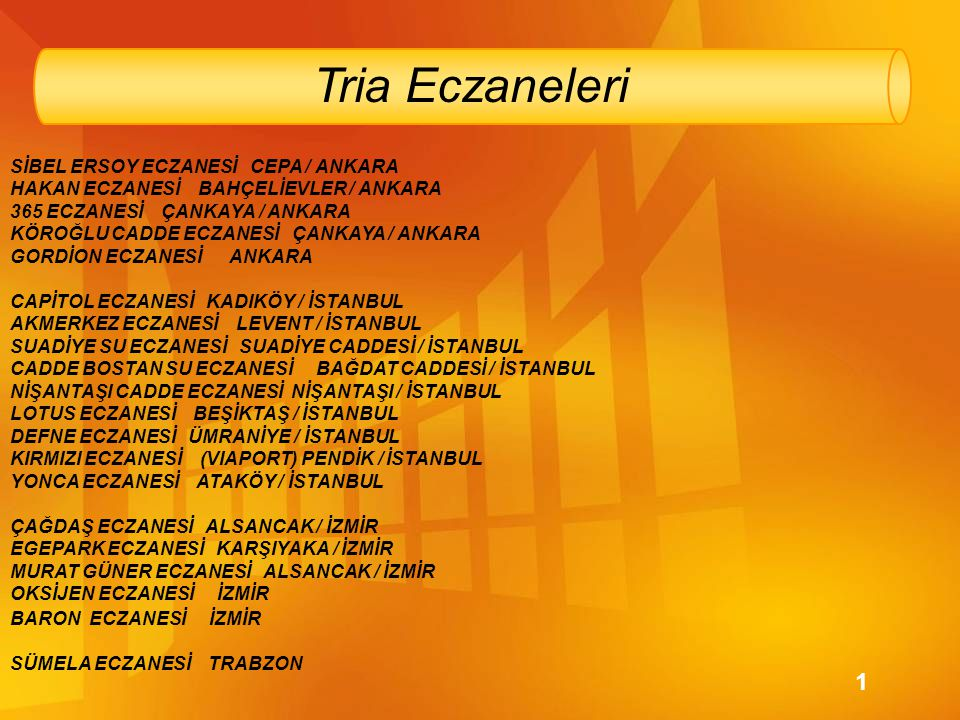 Tria Eczaneleri 1 SİBEL ERSOY ECZANESİ CEPA / ANKARA