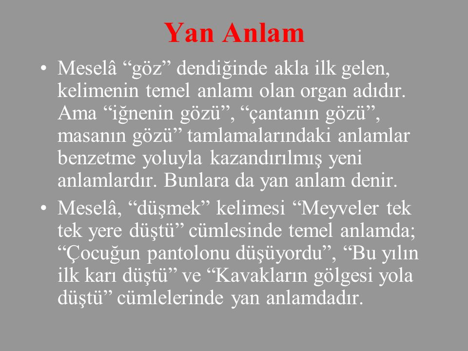 Yan Anlam