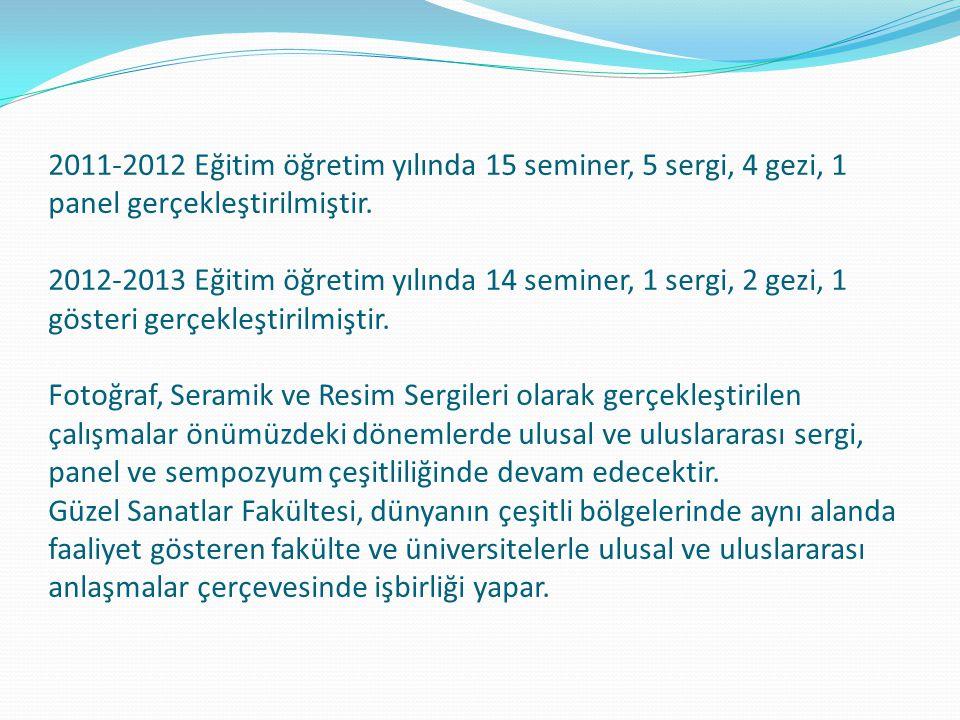 2011-2012 Eğitim öğretim yılında 15 seminer, 5 sergi, 4 gezi, 1 panel gerçekleştirilmiştir.