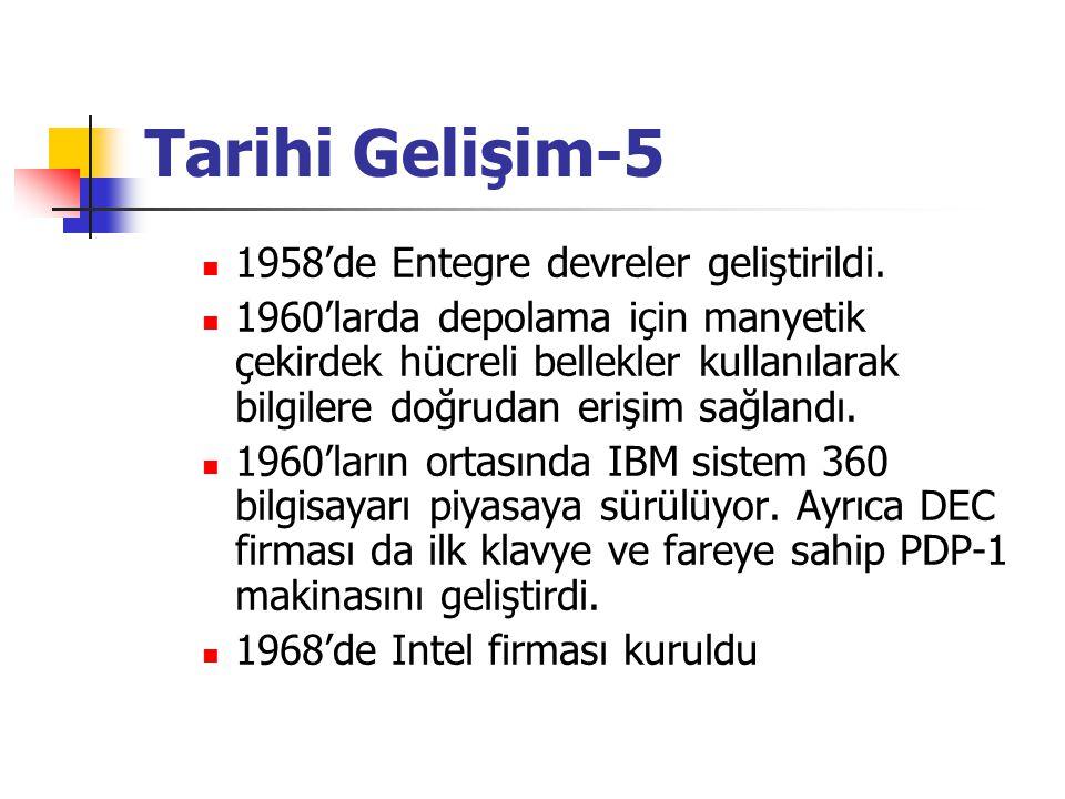 Tarihi Gelişim-5 1958'de Entegre devreler geliştirildi.