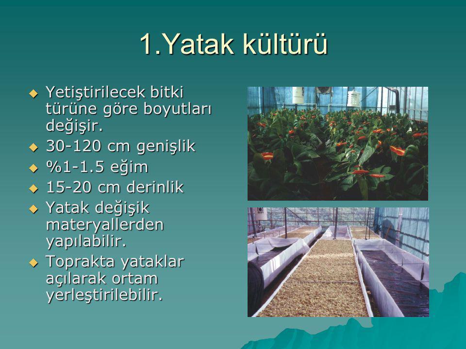 1.Yatak kültürü Yetiştirilecek bitki türüne göre boyutları değişir.