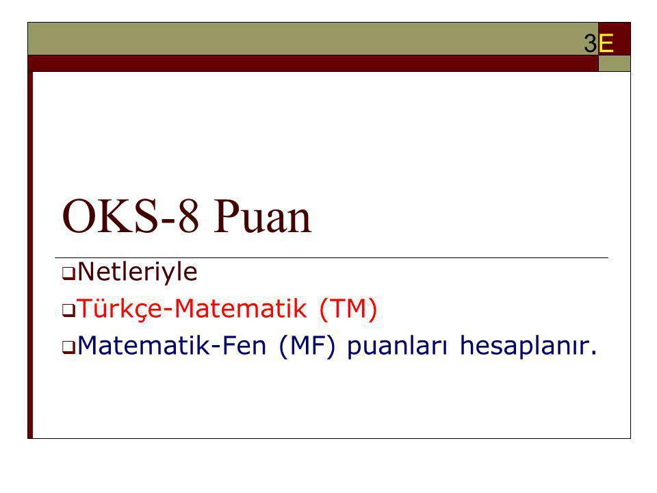 OKS-8 Puan 3E Netleriyle Türkçe-Matematik (TM)