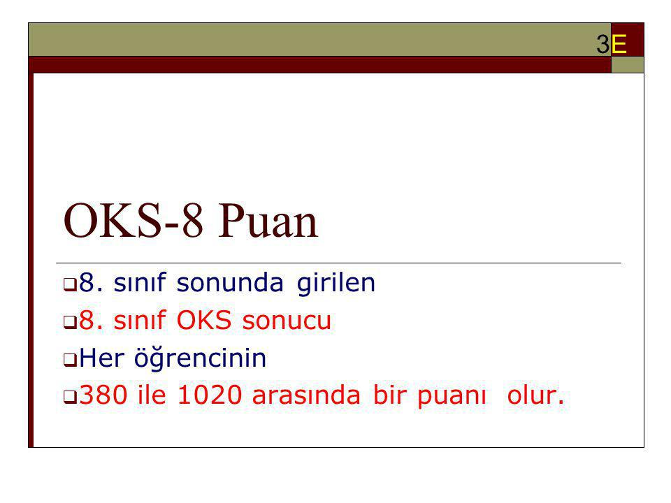 OKS-8 Puan 3E 8. sınıf sonunda girilen 8. sınıf OKS sonucu