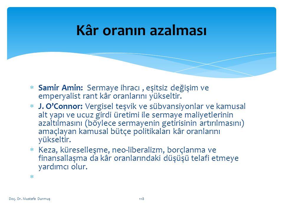 Kâr oranın azalması Samir Amin: Sermaye ihracı , eşitsiz değişim ve emperyalist rant kâr oranlarını yükseltir.